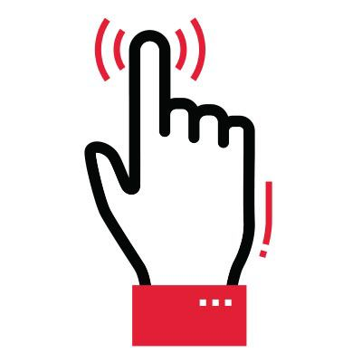 Icon illustration of a hand touching an electronic device.