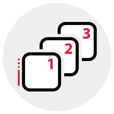 Icon - sequence of squares with 1, 2, 3.