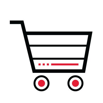 Icon illustration of a shopping cart.