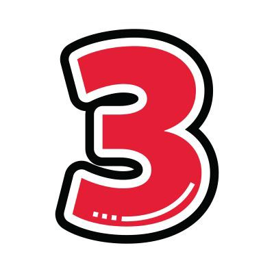 Icon illustration of the number three.