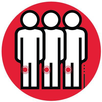 Icon illustrating three people with deep-vein thrombosis.