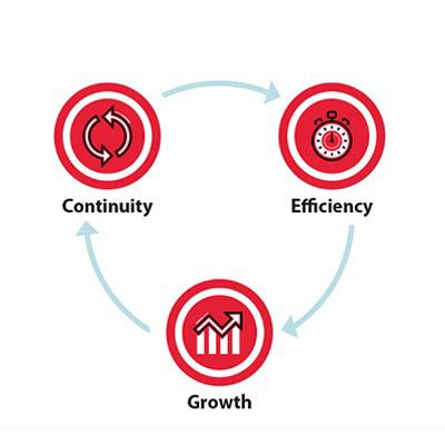 icons depicting continuity, efficiency, growth.