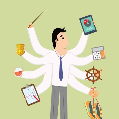 Illustration of a supply chain leader with many arms, representing many roles.