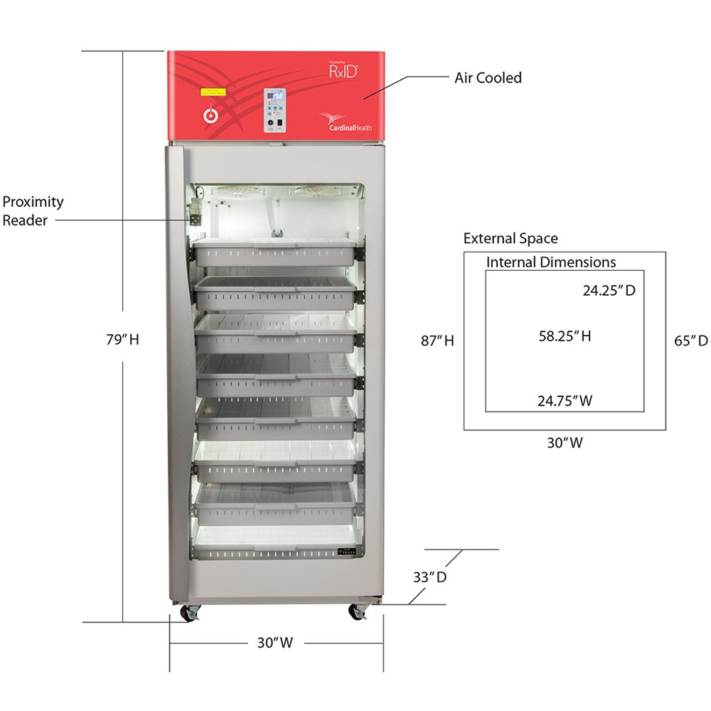 RFID-enabled refrigerator with dimensions