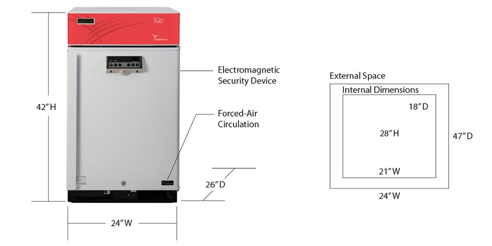 small rfid-enabled refrigerator with dimensions
