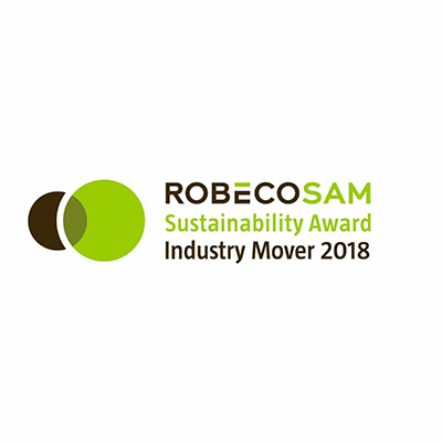 award reading RobecoSAM Sustainability Award Industry Mover 2018