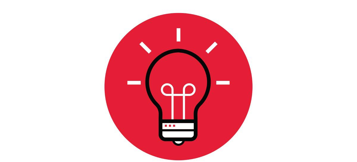 Lightbulb ideas icon.