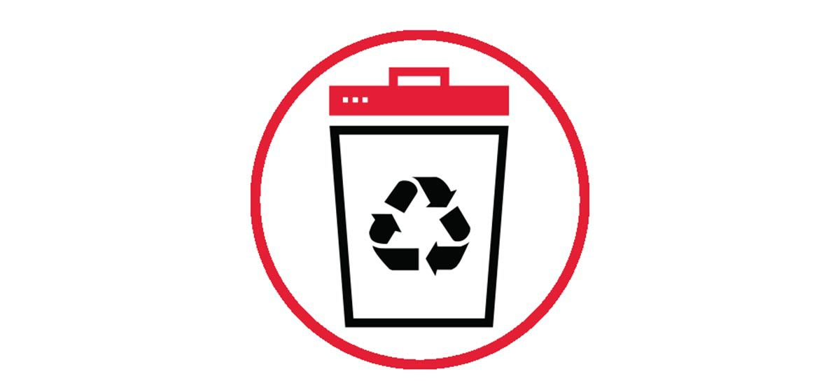 Icon illustration of a recycling bin in a red circle.