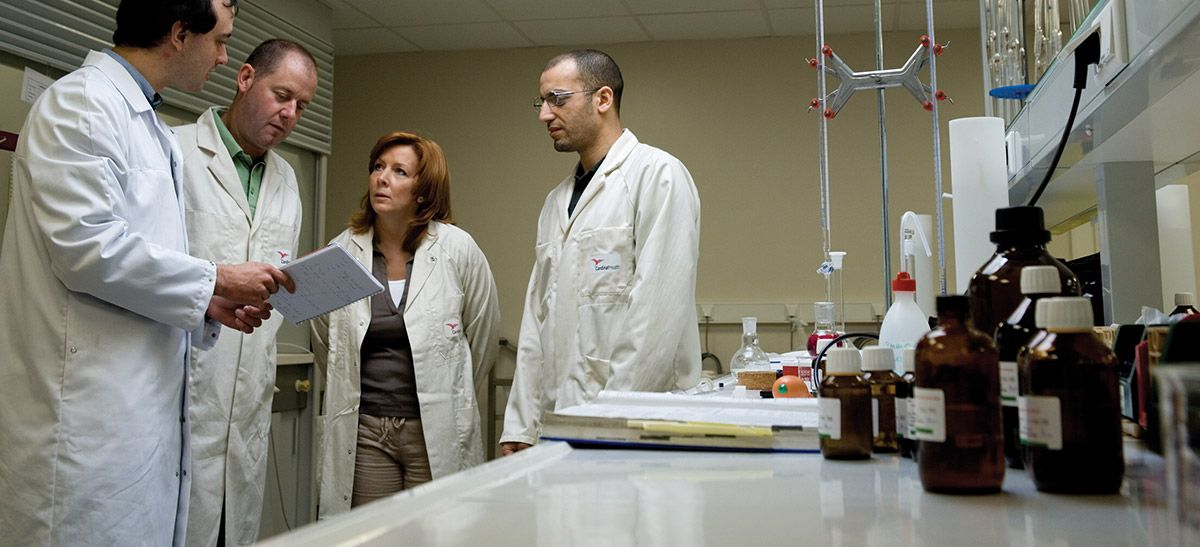 Four laboratory professionals in laboratory discussing a test.