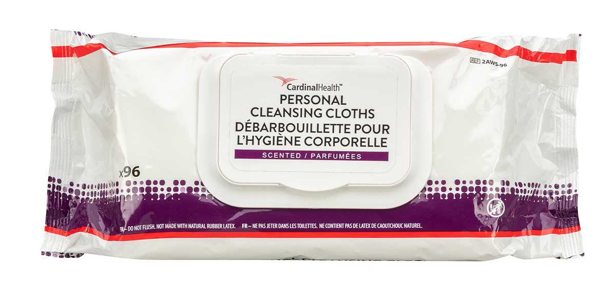 Image of personal cleansing cloth packaging.