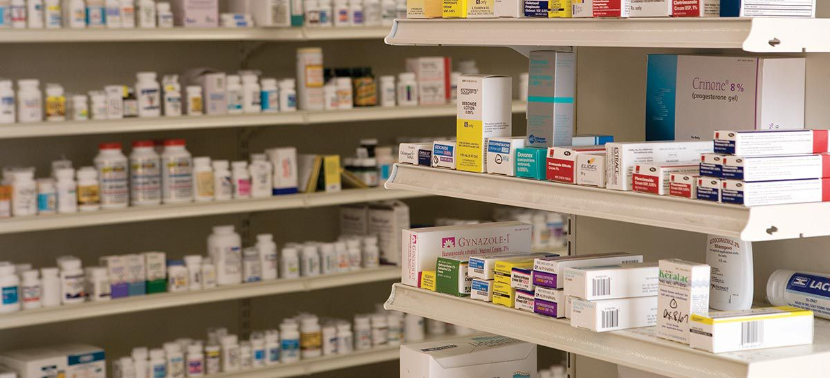 Product on the pharmacy shelves.