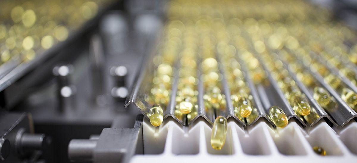 Yellow pill capsules.