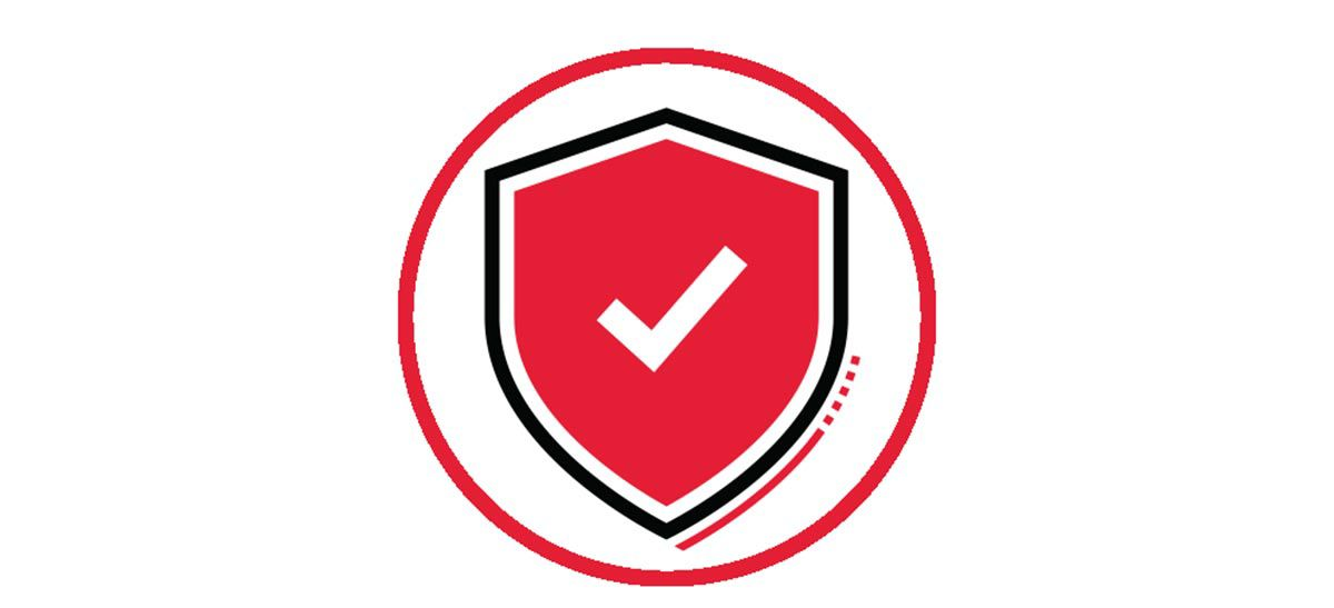 Icon illustration of a red shield with a white check mark in a red circle.