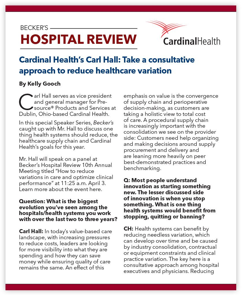 Thumbnail of the Becker's Hospital Review Carl Hall PDF.