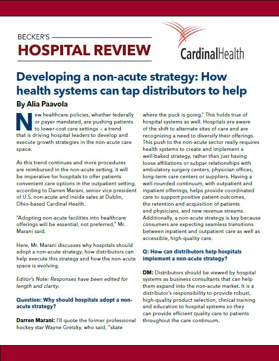 front page of Becker's Hospital Review article