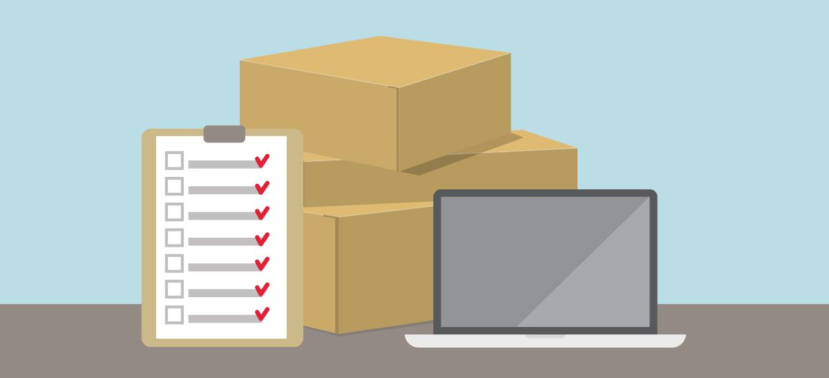 Animated picture of boxes, a checklist and a laptop.