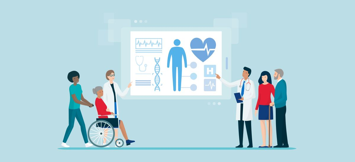 Animated picture of doctors and patients looking at a health chart.
