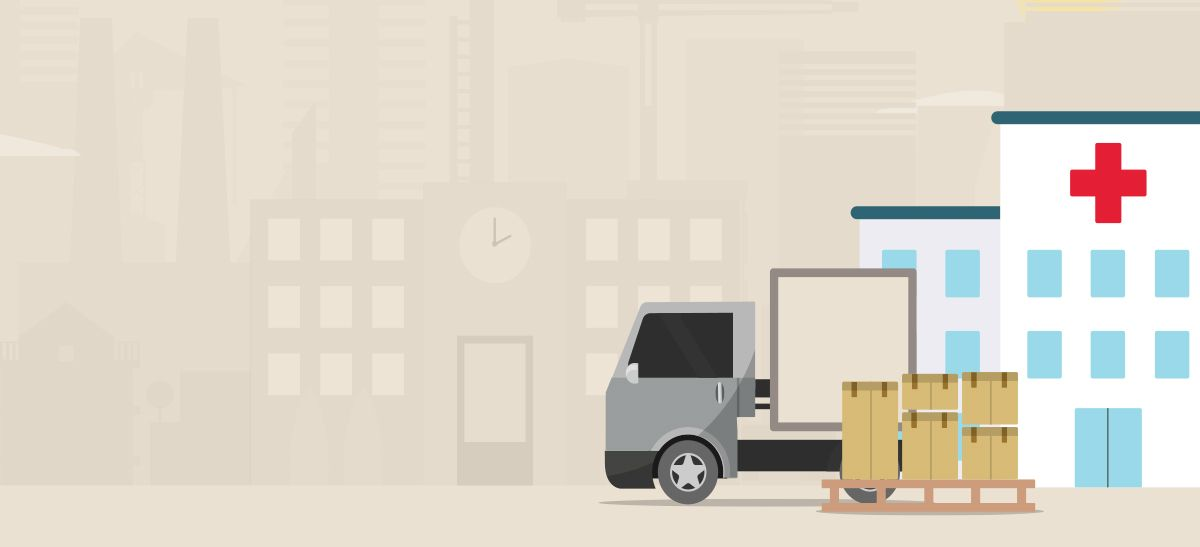 Animated image of a truck delivering supplies to a hospital.
