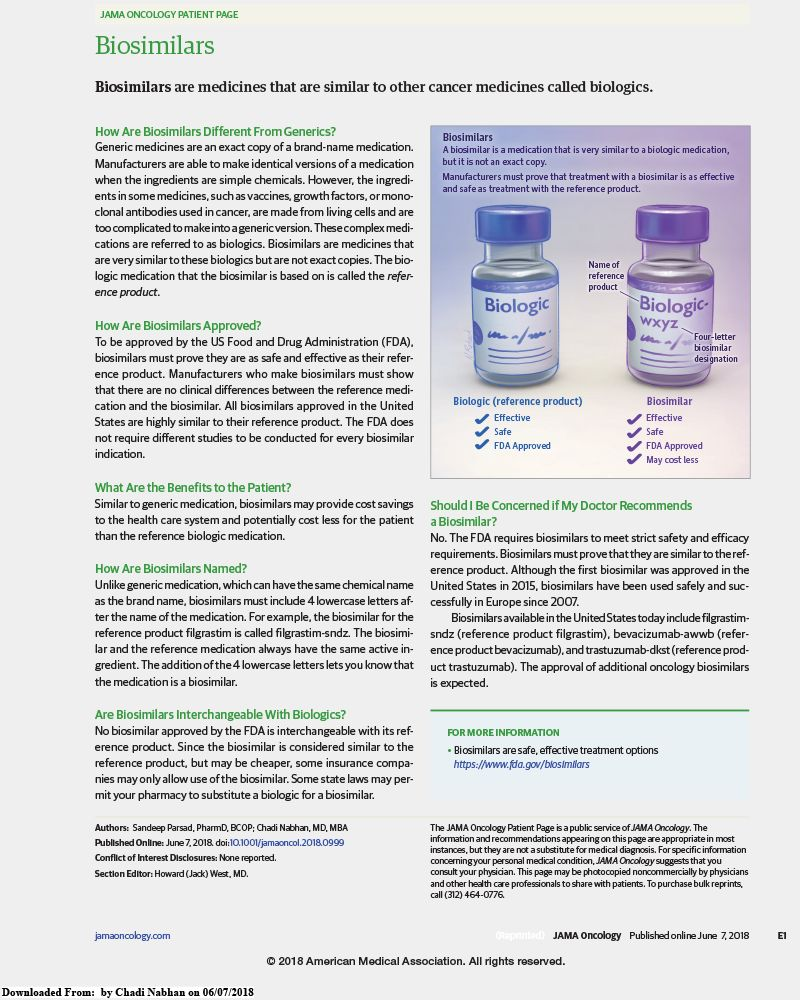 Biosimilars article from JAMA Oncology.