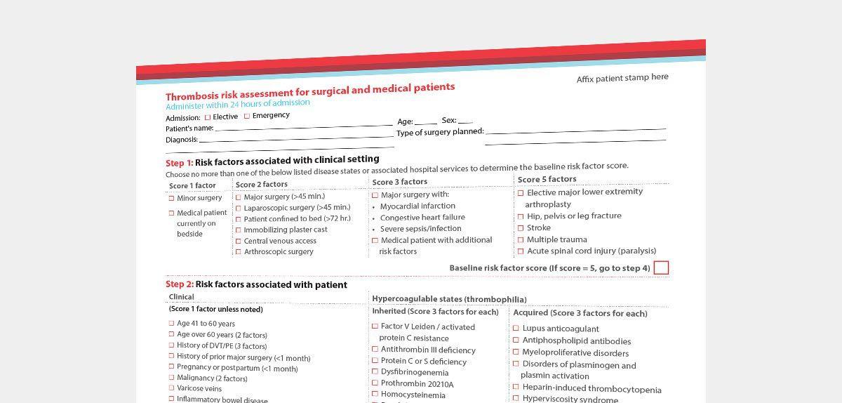 Caprini blood clot prevention tool.