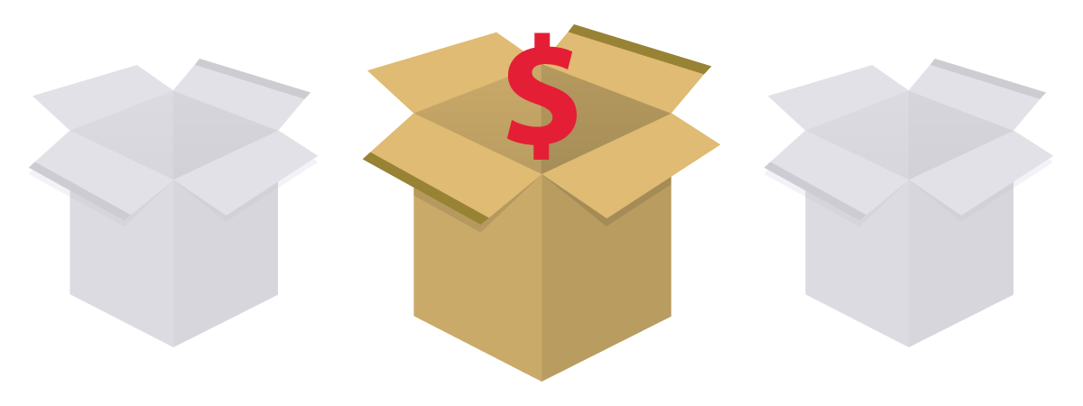 illustration of three boxes and a dollar sign, representing choices