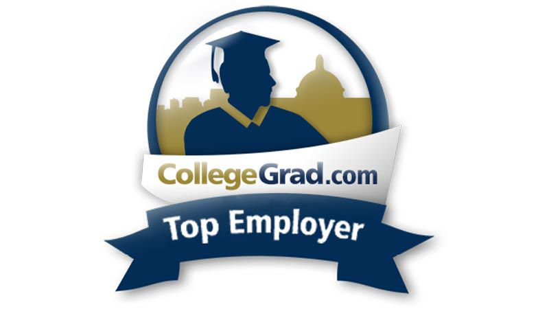 Logo reading CollegeGrad.com Top Employer.