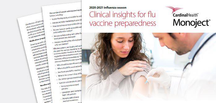 Clinical insights for flu vaccine preparedness document screen capture.