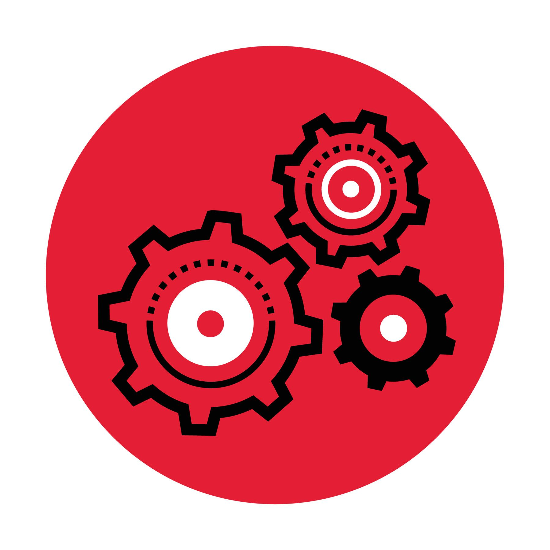 Icon illustration of gears in a red circle.