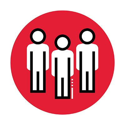Icon illustration of three people in a red circle.