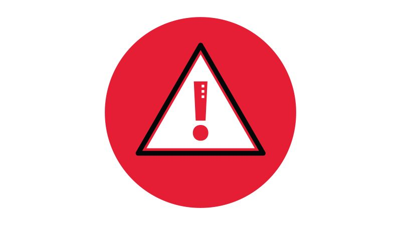 Icon illustration of a caution symbol in a red circle.