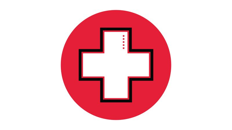 Icon illustration of a medical cross in a red circle.