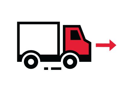 Delivery truck icon with red arrow.