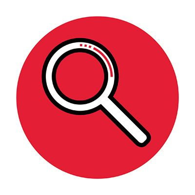 Icon illustration of a magnifying glass in a red circle.