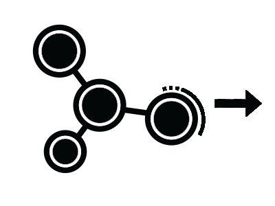 Molecule icon with a black arrow.