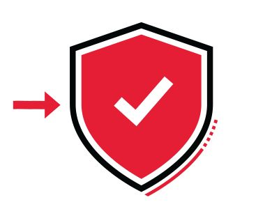 Red arrow pointing to a shield with a check mark.