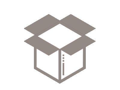 Dark grey open shipping box icon.