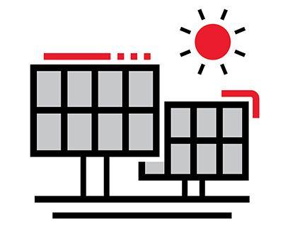 Solar panels icon.
