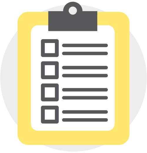 Illustration of clipboard containing checklist.