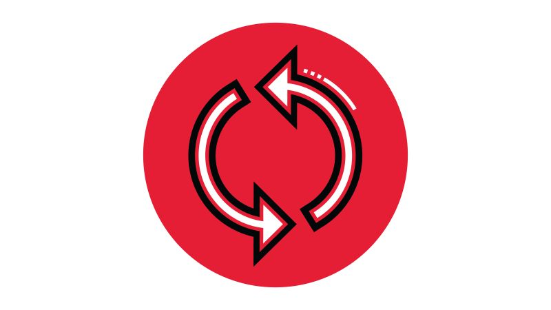 Icon illustration of a workflow in a red circle.