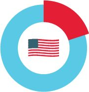 Illustration of the U.S. flag in a circle representing 19.9% of GDP 2025 U.S. healthcare spending.