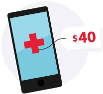 Illustration of a phone with a red medical cross.