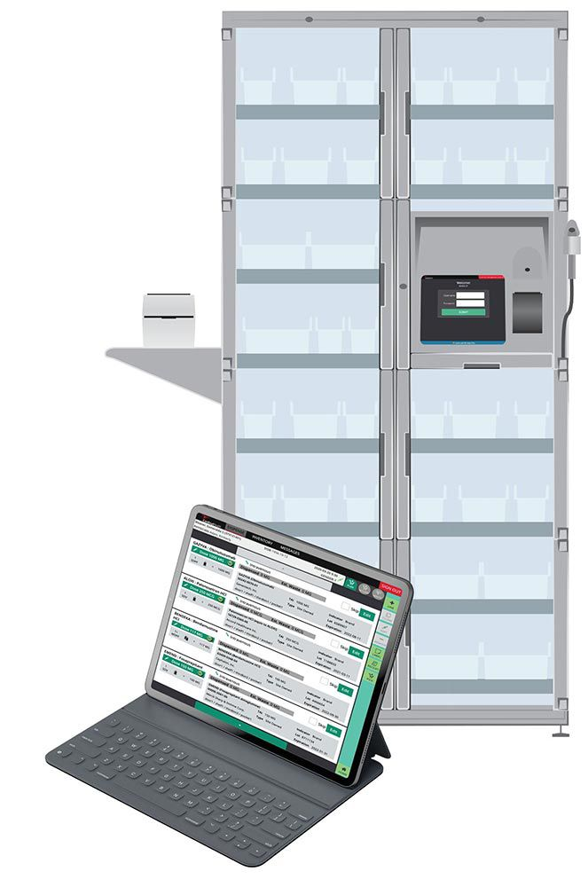 Inventory Management Solutions cabinet and tablet.