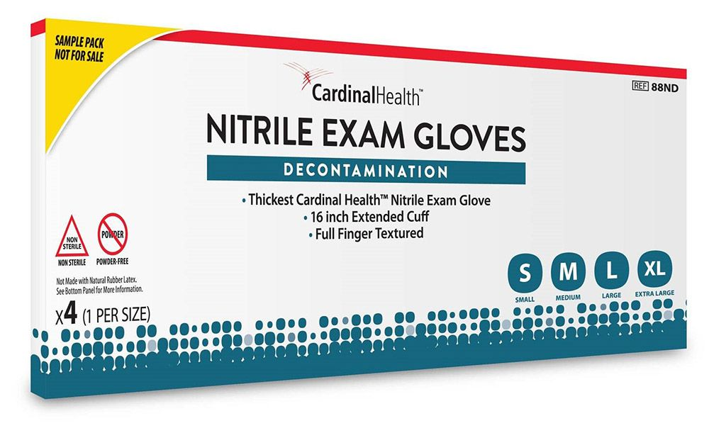 sample box of Nitrile decontamination exam gloves