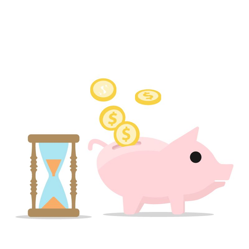 illustration of hourglass and piggy bank