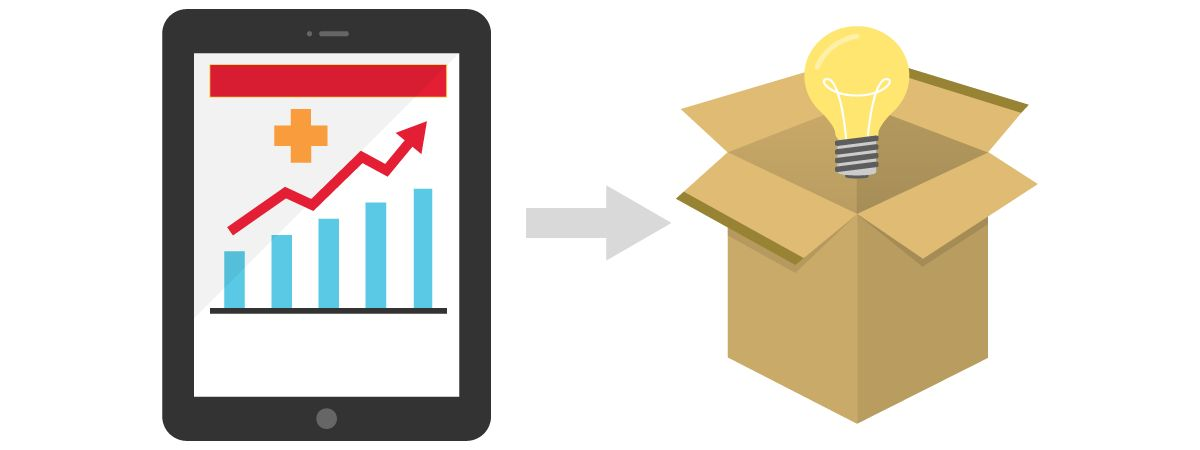 illustration of graph on tablet to box with lightbulb, relaying that data will help with shipping decisions