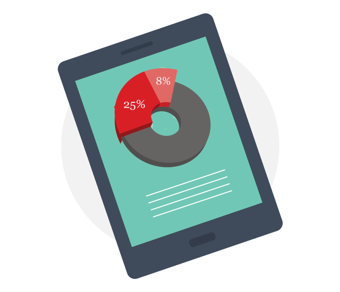 illustration of pie chart on a tablet