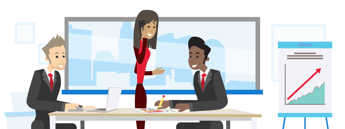 illustration of two men and a woman in a meeting with laptop, pencil, paper and chart