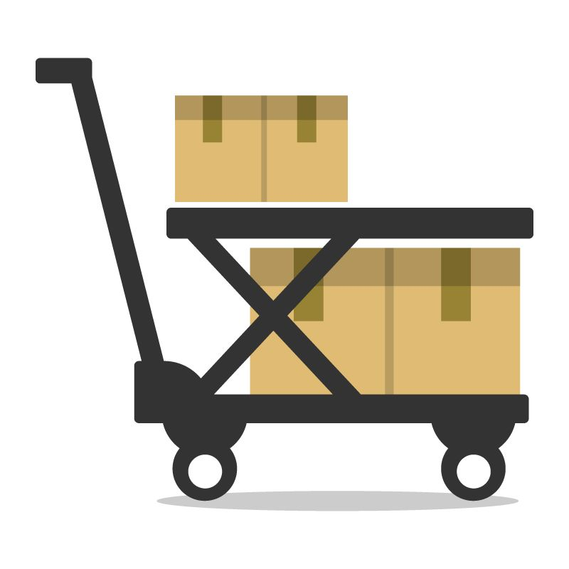 illustration of cart on wheels holding boxes