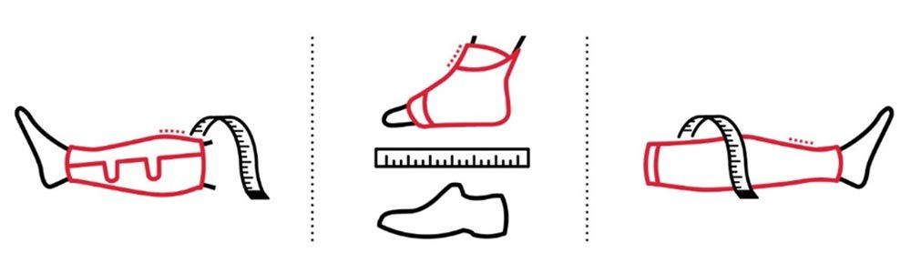 Icon illustration of measuring for compression products.