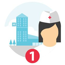 Illustration of nurse outside a hospital and the number 1.